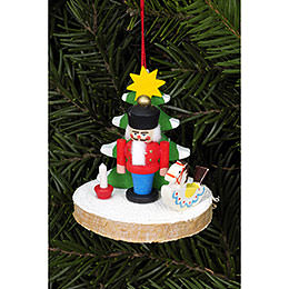 Tree ornament Nutcracker on tree disc  -  5,1 x 5,1cm / 2.0 x 2.0inch