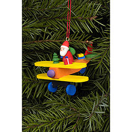 Tree ornament Santa Claus on plane  -  6,8 x 4,8cm / 3 x 2 inch