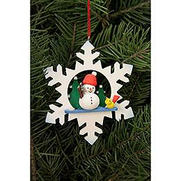 Tree ornament  -  Snowflake Snowman   -  9,0 x 9,0cm / 3.5x3.5 inch