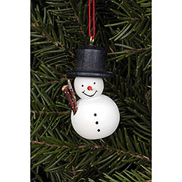 Tree ornament Snowman white  -  2,5 x 4,6cm / 1.0 x 1.8inch