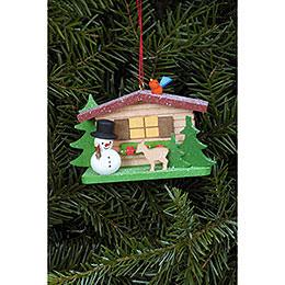 Tree ornament Snowman with Alpine house  -  9,3 x 5,3cm / 3.7 x 2.1inch