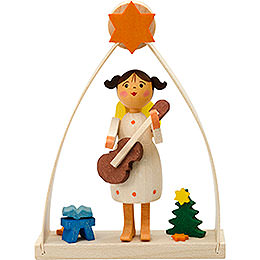 Tree ornament angel in arch with guitar  -  8cm / 3.1inch
