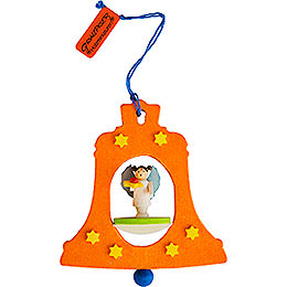 Tree ornament bell orange with angel  -  7,5cm / 3inch