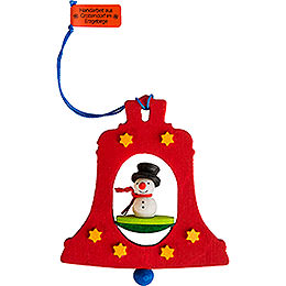 Tree ornament bell with snowman  -  7,5cm / 3inch