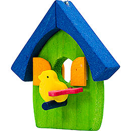 Tree ornament bird's house green and blue  -  5cm / 2inch