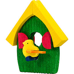 Tree ornament bird's house green and yellow  -  5cm / 2inch