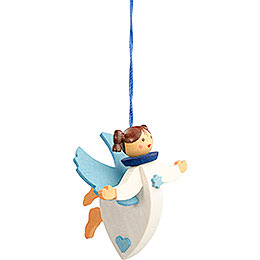 Tree ornament floating angel blue with thread  -  6cm / 2.4inch
