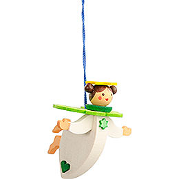 Tree ornament floating angel green with thread  -  6cm / 2.4inch