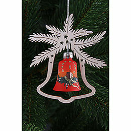 Tree ornament  -  hand painted glass bell red symphony, set of three  -  9x8cm / 3.5x3.inch
