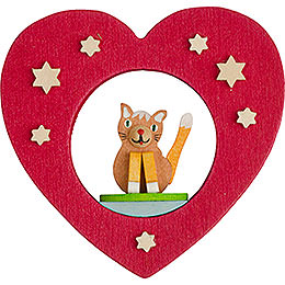 Tree ornament heart with cat  -  7cm / 2.8inch