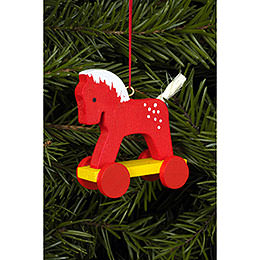 Tree ornament horse red  -  4,4 x 8,4cm / 2 x 3 inch