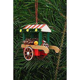 Tree ornament market cart with ginger bread  -  7,5cm / 3inch
