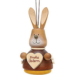 Tree ornament teeter bunny with heart natural  -  9,8cm / 3.9inch