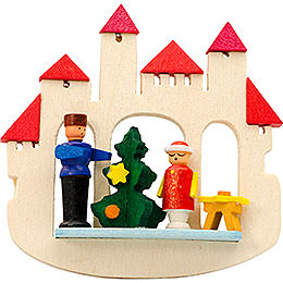 Tree ornament town gate Christmas tree, natural  -  7cm / 2.8inch