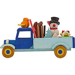Tree ornament truck snowman with ski  -  7,5cm / 3inch