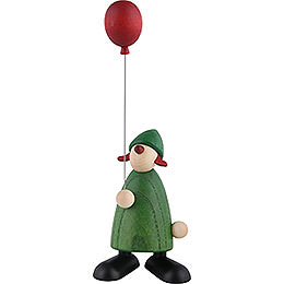 Well - wisher Lina with red balloon, green  -  9cm / 3.5inch