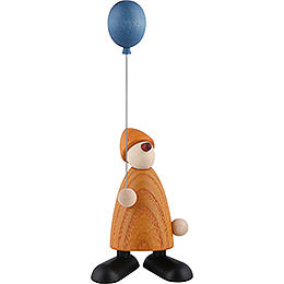 Well - wisher Linus with blue balloon, yellow  -  9cm / 3.5inch
