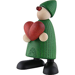 Well - wisher Theo with heart, green  -  9cm / 3.5inch