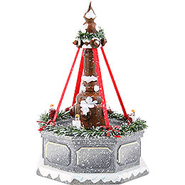 Winter children fountain with electric lights  -  12cm / 4.7inch