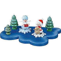 Wolke für Schneeflöckchen 1 Etage klein  -  18x11cm