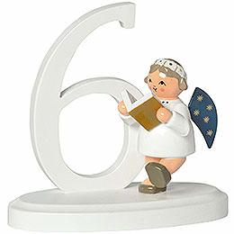 """Zahl """"6"""" mit Engel  -  7cm"""